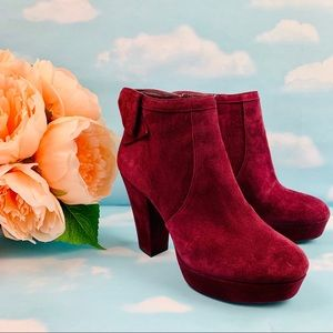 Gianni Bini Wine Red Suede Bow Ankle Booties 6.5
